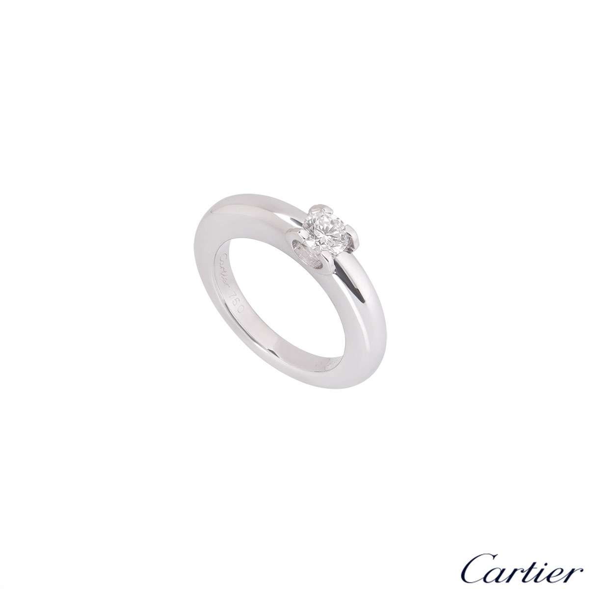 Cartier 18k White Gold Diamond C De Cartier Ring Size 48